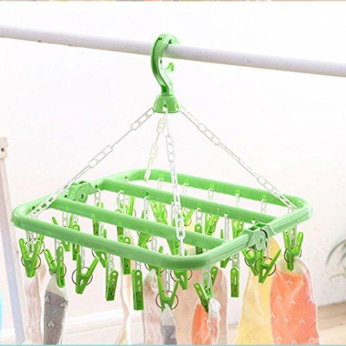 XIAOYANNIU Multifunktions-Unterwäsche Socken Kleiderständer Multi-Griff Rollentyp Teleskop Haushalt Multifunktions Windproof Baby Kleiderbügel Kleiderbügel,Green