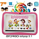 Tablette tactile enfant YOKID quad core 7 pouces Android 5.1 Rose 40Go