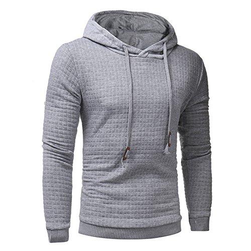 Felpe Uomo Pullover con Cappuccio Hooded Sweatshirt Manica Lunga Cappotto Tops Kootk Grigio chiaro