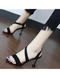 Xue Qiqi jeune fille a fait dans l'en-tête avec la cravate à rivets sandales élégantes épais avec des souliers à talon haut,38, blanc