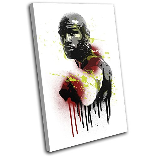 Bold Bloc Design - Floyd Mayweather Grunge Urban Sports 60x40cm SINGLE Canvas Art Print Box Framed Picture Wall Hanging - Hand Made In The UK - Framed And Ready To Hang
