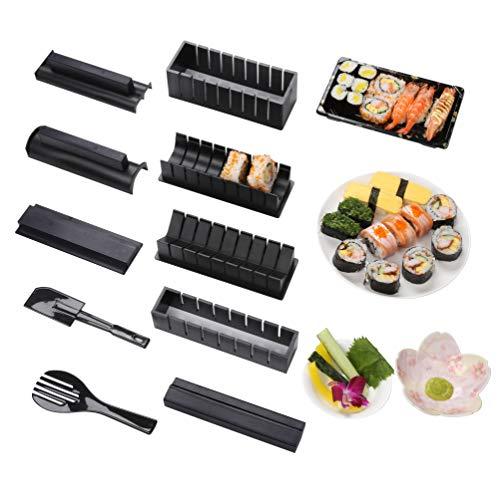 Sushi Maker kit 10pcs 5 Formas únicas de Kit para Hacer Sushi Molde Inicio Hacer Sushi Kit Sushi kit del fabricante Fácil y divertido DIY Set de Sushi Roll arroz rollo molde (Negro)