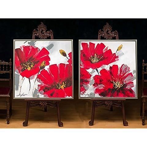 2x originale pittura Natura morta di fiori Olio immagine Pittura a olio 84x84cm - Pittura Floreale Olio Originale Firmato