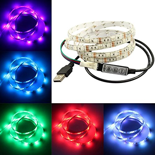 LED Light Strip, Skitic Flessibile USB Striscia a LED RGB Catene Luminose Impermeabile SMD5050 Bicicletta Luce Ruota con 5V Adattatore di Alimentazione per Notebook Laptop PC TV Desktop Illuminazione Backlight - 200CM