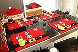 Tischmatte 6er Set Weihnachten Tischsets mit Bestecktasche Platzsets Abwaschbar Platzmatten Platzdeckchen weihnachten Esstisch Matte Weihnachtsmatte Küche Dekoration Zubehör deko (stil2)