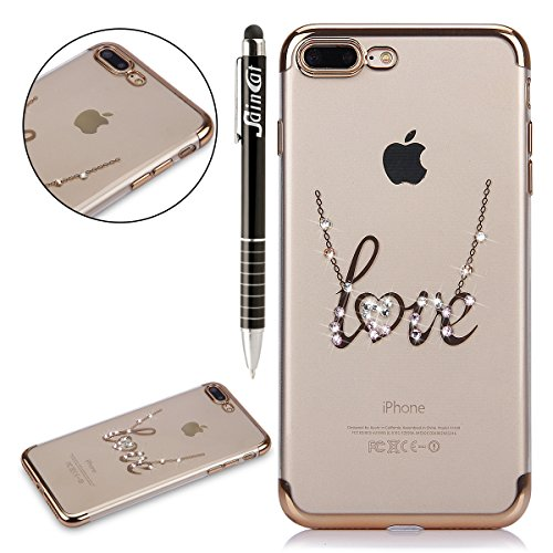 Custodia iPhone 7 Plus, iPhone 7 Plus Cover Silicone, SainCat Cover per iPhone 7 Plus Custodia Silicone Morbido, Custodia Bling Glitter Strass Diamante Silicone 3D Design Ultra Slim Silicone Case Ultr Lettere AMORE #1