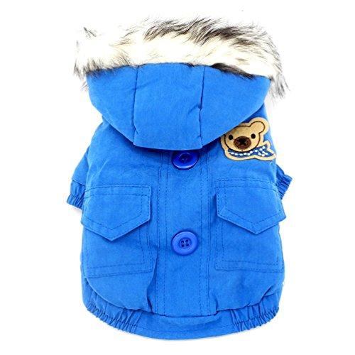 (smalllee_lucky_store Dicker Kapuzenanorak mit Baumwollfutter Hundemantel Winter Kapuzen Schal Bär Patch, blau, mittel)