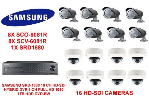 DVR SAMSUNG SRD-1680 16 ch HD-SDI HYBRID 1 TB HDD Kameras WITH16 HD-SDI 8X SC0-6081R aowallao AND aowallao 8X SCV-6081R Samsung Hd-dvrs