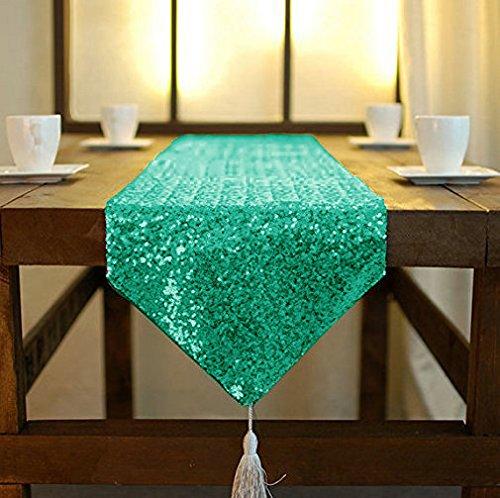 ShinyBeauty Tischläufer mit Quaste, schimmerndes Grün 30x 180cm, mit Glitzer und runden Pailletten, Tischläufer für Party / Hochzeit / Bankett, Tischdecke, dekorativ, grün, 12x72-Inch (Tischdecken Für Grüne Hochzeiten)