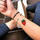 fresa etiqueta engomada falso temporal del tatuaje (Juego de 2) - TOODTATTOO.COM