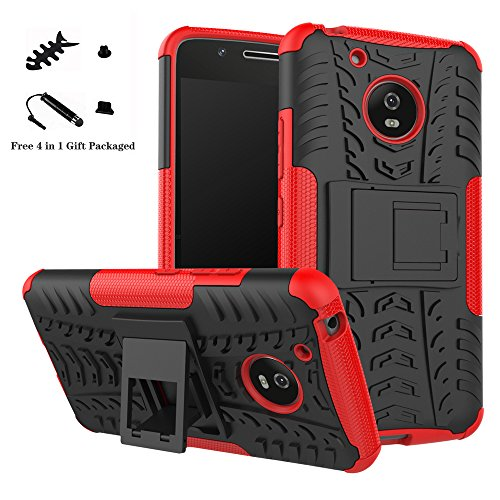 LiuShan Moto G5 Funda, Heavy Duty Silicona Híbrida Rugged Armor Soporte Cáscara de Cubierta Protectora de Doble Capa Caso para Lenovo Motorola Moto G5 Smartphone,Rojo