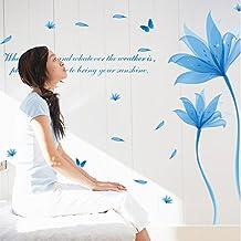 Mariposas flores de loto de cristal azul Inglés letras adhesivo para pared adhesivo de Home de PVC Casa Vinilo Papel Papel pintado de decoración salón dormitorio Arte DIY de imagen murales Girls Boys Kids Nursery Baby