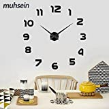 DIY Wanduhr Moderne Clock 3D Acryl Spiegel Metall Rahmenlose Wandaufkleber groß Uhren Style Raum Home Dekorationen Geschenk Freies Verschiffen (Schwarz)