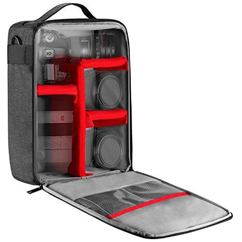 Neewer NW140S Wasserdichte Kamera und Objektiv Aufbewahrung Tragetasche, 22 x 15 x 32 cm weiche gepolsterte Tasche, für Canon Nikon Sony DSLR, 4 Objektiv...