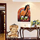 UberLyfe Horse Art Poster with Wall Sticker Size 4 (Wall Covering Area: 78.5cm x 58cm) - WS-1352