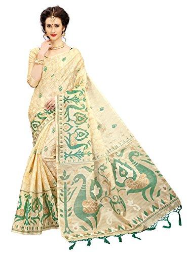 Indian Beauty Khadi Saree (VICTOR-MOR-GREEN_Green_Free Size)