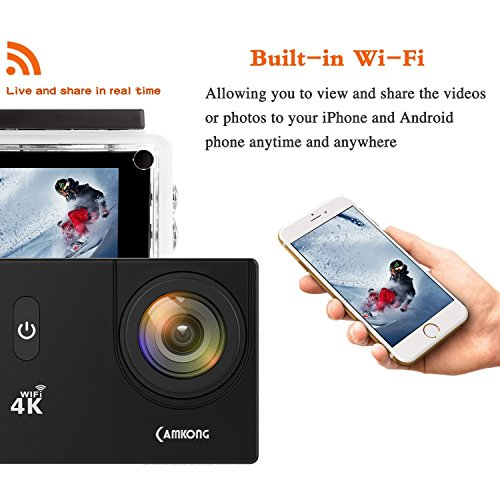 4a2f8bba14 CAMKONG Cámara Deportiva Ultra HD 4K, Cámara Acción con Cáscara Impermeable  Wi-Fi 12MP