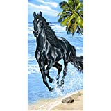 Strandtuch Pferd schwarz Galopp Hat Strand Handtuch Frottee Velours Druckt 75x 150cm