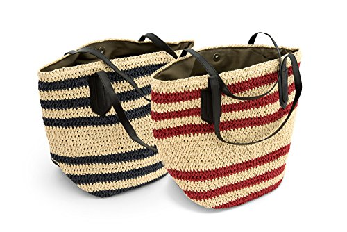 Dreiklang Shopping Tasche Rome - aus federleichtem Bastmaterial mit dekorativem Streifenmuster für Damen Natur Rot