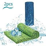 KATOOM 2 Stücke Kühlendes Handtuch Fitnesshandtuch Golf Handtuch Kühltücher Kühlhandtuch Cool Towel für Sport Laufen Wandern Camping Reise Yoga