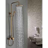AI LI WEI Bathroom Furniture - Antique Brass Tub Shower Faucet with 8 inch Shower Head + Hand Shower