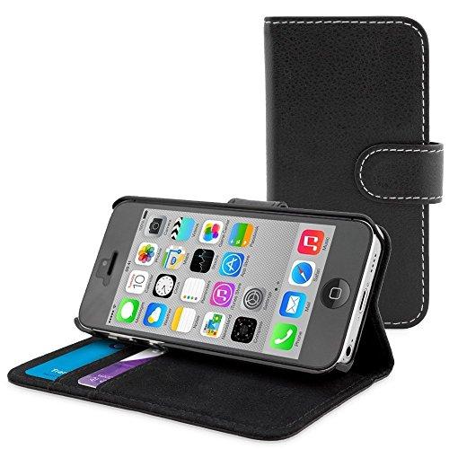 iPhone 5C Schwarz PU Wallet Buch Case, iPhone 5C Buch Wallet Case Folio Leder Brieftasche Schutzhülle Mit [Ständer] [Kartenfächer] [Magnetverschluss] Flip Book Schutzhülle für iPhone 5C von Peach® (Falten Iphone 5 Fall)