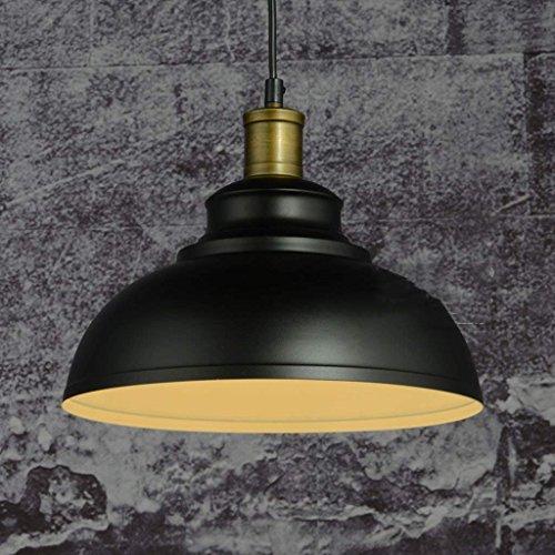 QAZ Retro Metall Dome Kronleuchter, Industrial Vintage Schüssel Decke montiert Anhänger Lampenschirm Minimalismus antike Bügeleisen Wrought hängende Beleuchtung für Büro Flur Schlafzimmer Leuchten (Farbe: Schwarz) (Decke-dome-anhänger)
