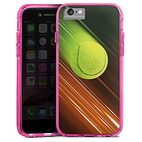 Apple iPhone X Bumper Hülle Bumper Case Glitzer Hülle Tennis Tennisball Speed Bumper Case transparent pink