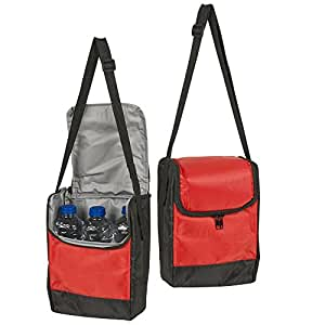 Red Small Bottle & Can Cooler with Shoulder Strap - Ideal for Picnic, Beach, BBQ, Hiking & Camping