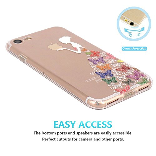 Case for iPhone 5 -Transparent Silicone Shock Absorption Flexible TPU Rubber Gel Bumper Anti-Scratch Slim Protective Cases Clear Back Cover for iPhone 5 - White Colorful Butterfly Girl