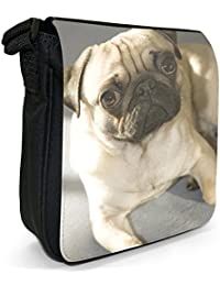 Pug Dog Small Black Canvas Shoulder Bag / Handbag