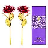 2 Unids 24 K Lámina de Oro Artificial Para Siempre Flor de Rosa para la Esposa Amante Mujeres Novia Regalos de Aniversario Regalo de Cumpleaños Día de San Valentín (rojo)