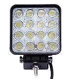 12 - 24V 2 Stücke kaltweiss LED Arbeitsleuchten, Shinning-Star LED Arbeitsscheinwerfer, Rückfahrscheinwerfer (Vereckig 48W)