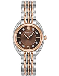 Bulova Ladies Curv Diamond Women's Quartz Watch with Brown Dial Analogue Display and Multicolour Stainless Steel Bracelet 98R230