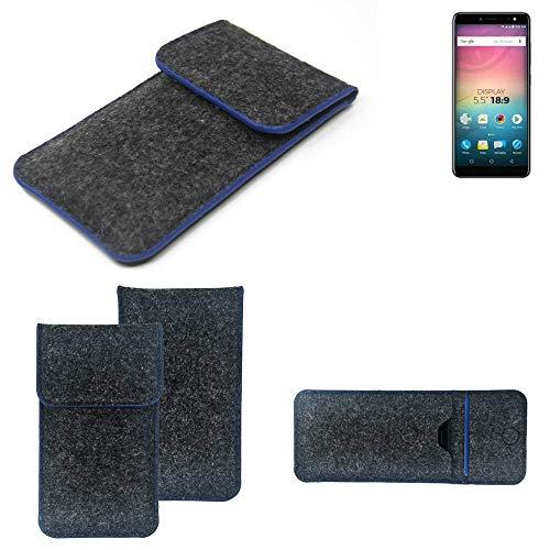 K-S-Trade® Filz Schutz Hülle Für -Allview V3 Viper- Schutzhülle Filztasche Pouch Tasche Case Sleeve Handyhülle Filzhülle Dunkelgrau, Blauer Rand Rand