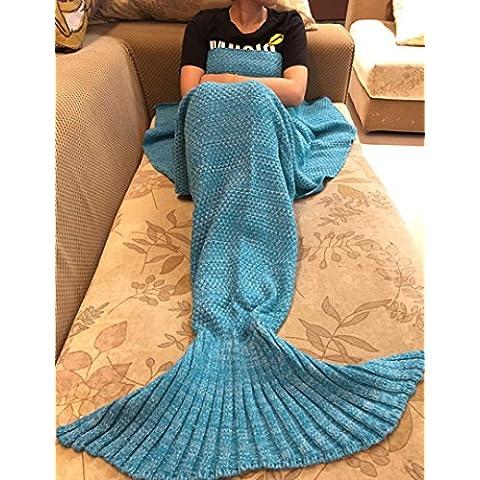 Tail Mermaid Coperta uncinetto Maglieria morbido Sacco a pelo Soggiorno mano Quilt Tutte le stagioni divano Snuggle Tappeto Migliore Moda Compleanno Natale Regalo per bambini