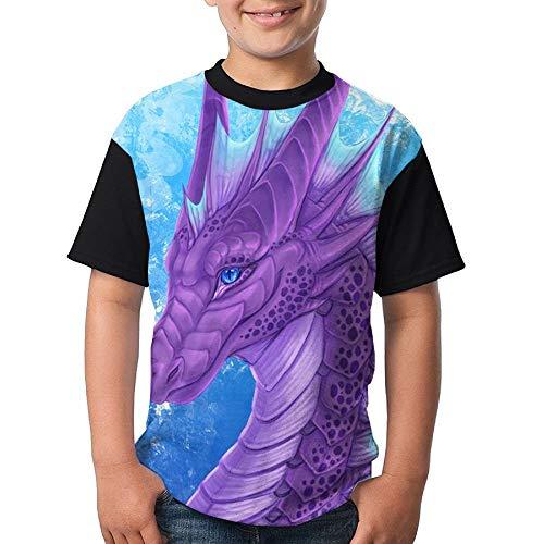 JEWold Custom Children's Teenagers Round Neck T-Shirts Purple Dragon Black Short Sleeve T Shirts Youth Tees Kindert-Shirt (Dragon Youth Tshirt)
