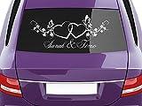 GRAZDesign Autoaufkleber Hochzeit Romantisches Motiv - Autodeko Aussen Brautpaar Namen - Aufkleber Hochzeit Heirat Zwei Herzen / 30x70cm / 740552_70x30_010G