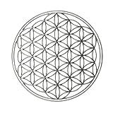 EnerChrom - Blume des Lebens Metall-Aufkleber 5 cm - 1 Stück - Farbe silber - 3D-Sticker, glänzend verchromt - selbstklebend, ohne Transparentfolie