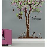 DECOR Kafe Home Decor Tree Wall Sticker, Wall Sticker For Bedroom, Wall Art, Wall Poster (PVC Vinyl, 63 X 71 CM)
