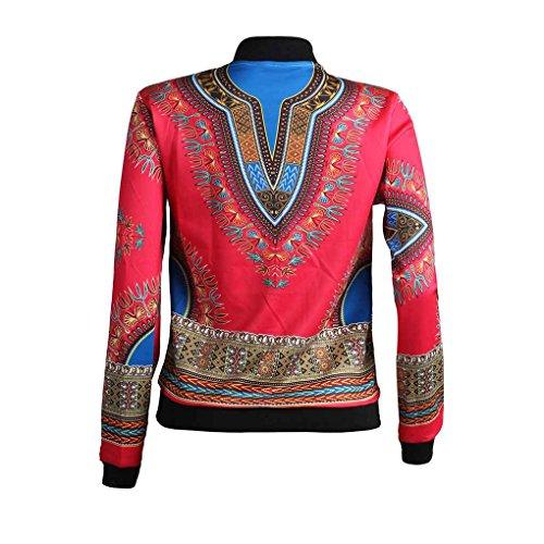 Minzhi Bomber da motociclista classico con cerniera lampo moda donna stampa africana con soprabito a manica lunga con stampa floreale Rosso