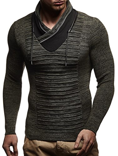 LEIF NELSON Herren-Strickpullover | Longsleeve Basic mit Form eines Schalkragens | Wollpullover Sweatshirt Langarm Kleidung Männer