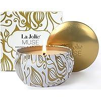 La Jolie Muse Bougie Parfumée Cadeau Vanille et Noix de Coco 100% Cire de soja Aromathérapie pour soulagement de Stress Boite de Voyage 45 Heures