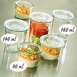12x WECK / Weck / Weckglas Mini-Sturz-Form, Inhalt 80 ml, Ø/H mm 60 / 55 inkl. passende Deckel