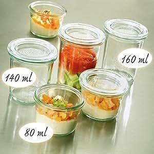 12x WECK / Weck / Weckglas Mini-Sturz-Form hoch, Inhalt 140 ml, Ø/H mm 60 / 69 inkl. passende Deckel