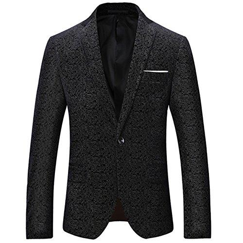 Herren Modern Slim Fit Business Schwarz Vintage Blumenmuster Anzug Jacke Blazer(Schwarz,XL)
