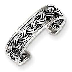 Sterling Silver Solid Antique finish Antiqued Toe Ring - 1.1 Grams