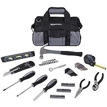 AmazonBasics - Kit de reparación para el hogar de 65 piezas, juego de herramientas básicas para hogar/oficina/residencias/apartamentos, con bolsa de herramientas