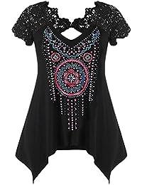 Rosegal Débardeur Femme T-Shirt Mode Manche Courte à Dentelle T-Shirt  imprimé de ffa5950ee730