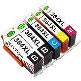 Toner Kingdom 5 Pack (1 Set + 1 Noir) rendement élevé 364XL 364 Cartouche d'encre Compatible Pour HP Photosmart 5510 5511 5512 5514 5515 5520 5522 5524 6510 6520 6512 6515 7510 7520 7515 B8550 B8558 B110c B010a C5370 C5383 C5388 C6324 C6380 D5460 D7560 C310a C410a B209a B210a HP Deskjet 3070A Imprimeur